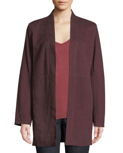 Suede Kimono Jacket, Plus Size