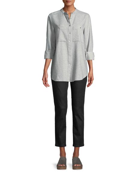 Flannel Button-Front Mandarin-Collar Shirt