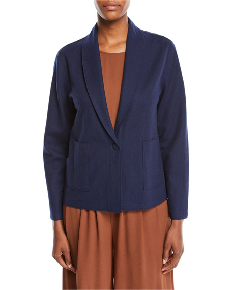 Eileen Fisher Boiled Wool Jersey Shawl-Collar Jacket