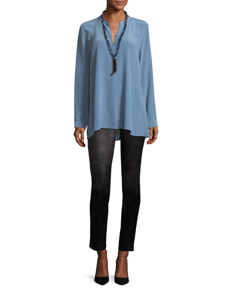 Long-Sleeve Silk Crepe de Chine Boyfriend Shirt, Petite