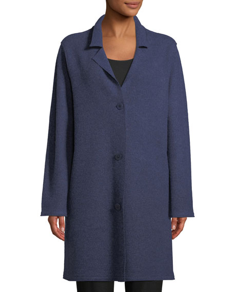 Notched-Collar Button-Front Wool Jacket, Plus Size
