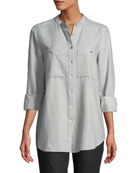 Eileen Fisher Flannel Button-Front Mandarin-Collar Shirt, Plus