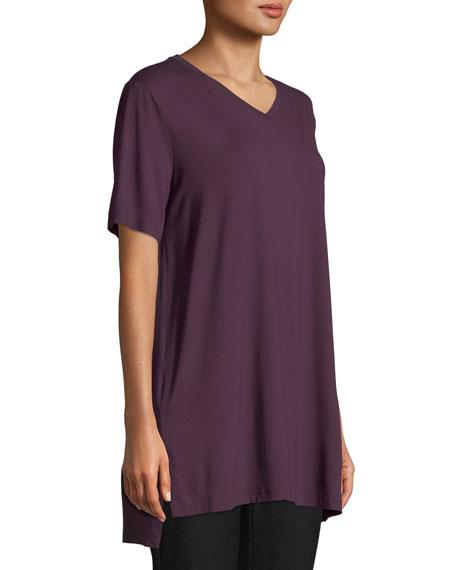 Short-Sleeve V-Neck Jersey Tunic