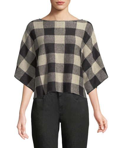 3/4-Sleeve Linen Checkerboard Sweater