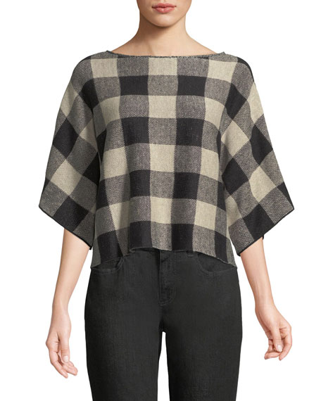 Eileen Fisher 3/4-Sleeve Linen Checkerboard Sweater and Matching