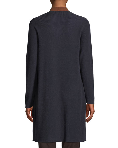 Contrast-Trim Side-Slit Cardigan, Plus Size