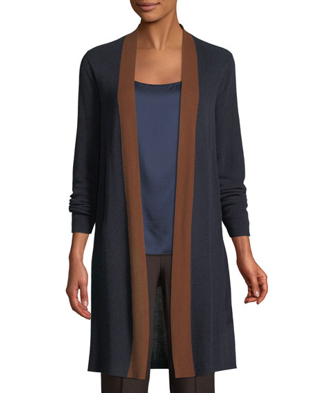 Contrast-Trim Side-Slit Cardigan, Plus Size