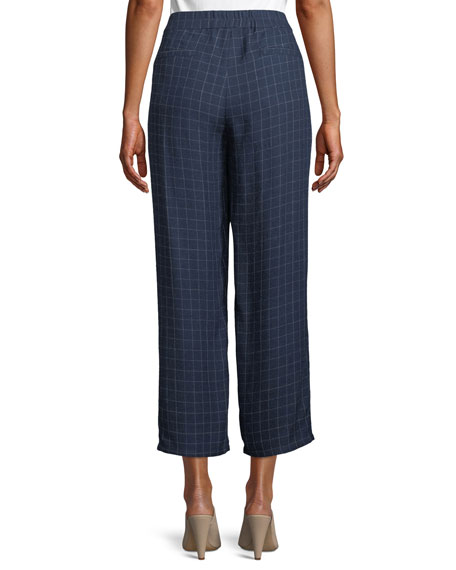 Plaid Silk Straight-Leg Ankle Pants