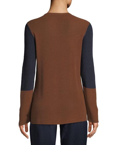 Contrast-Trim Silk-Blend Sweater, Plus Size