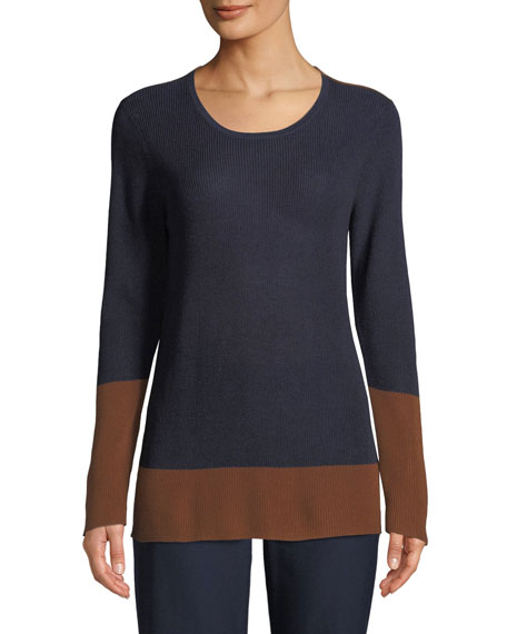 Eileen Fisher Contrast-Trim Silk-Blend Sweater, Plus Size and