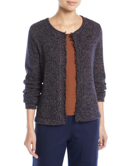 Fringed-Edge Round-Neck Cardigan, Petite