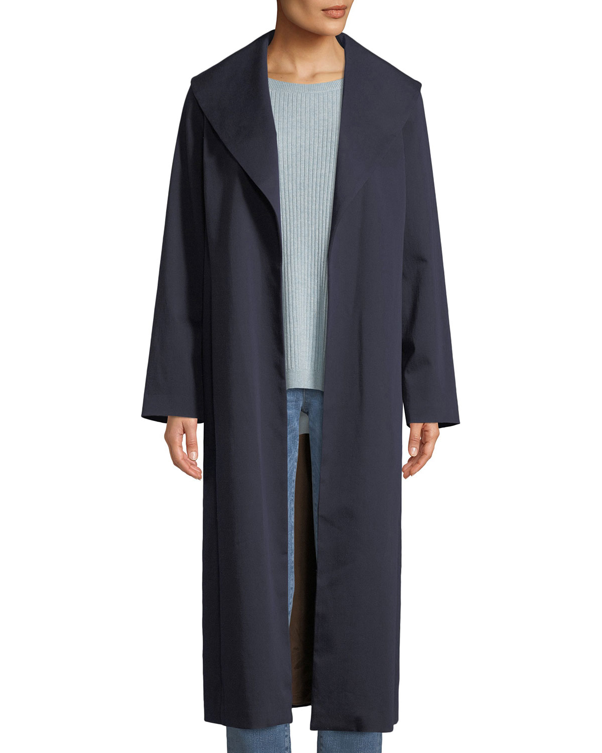 01833b50853 Eileen Fisher Wide-Collar Twill Belted Long Coat