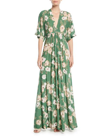Rachel Pally Willow Crepe Plunge-Neck Maxi Dress, Plus
