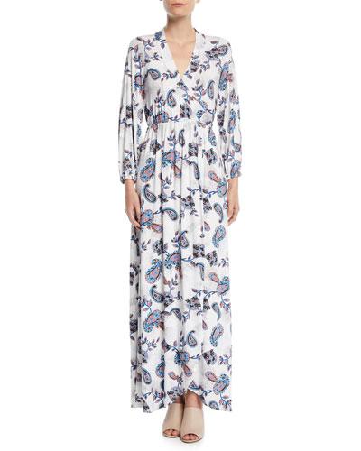 Greenwich Long-Sleeve Paisley Wrap Maxi Dress