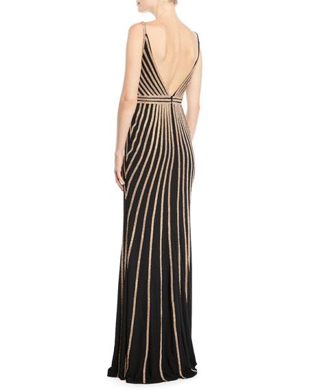 Sleeveless Gown w/ Beaded Stripes