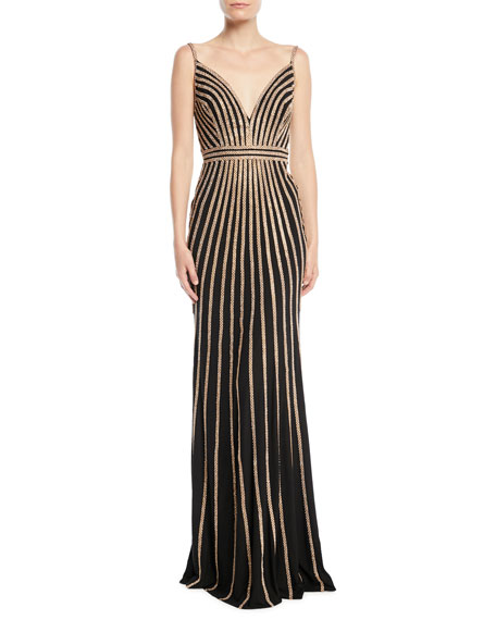 Jovani Sleeveless Gown w/ Beaded Stripes
