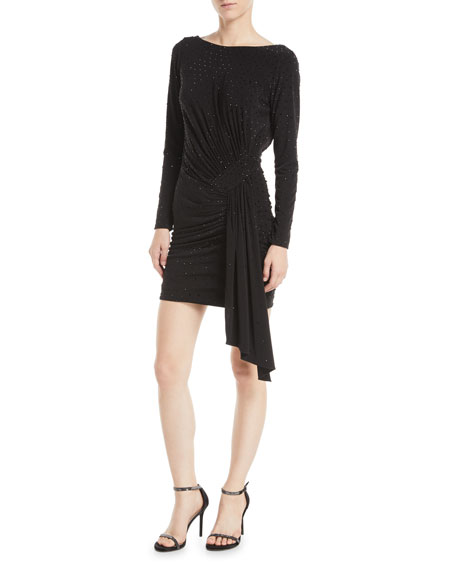 Long-Sleeve Shirred Low-Back Cocktail Dress