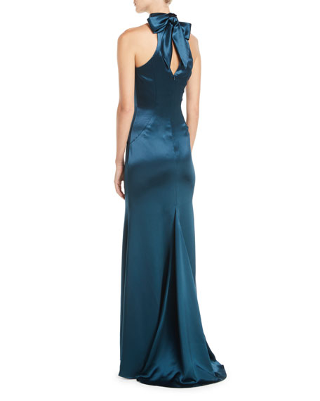 Cut-In Taffeta A-Line Halter Gown