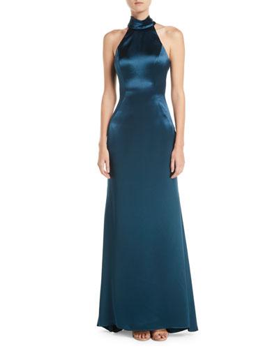 Cut-In Taffeta A-Line Halter Gown