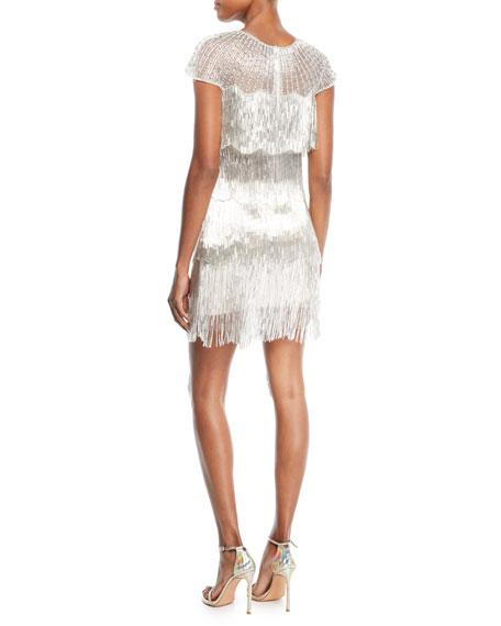 Short-Sleeve Metallic Fringe Dress