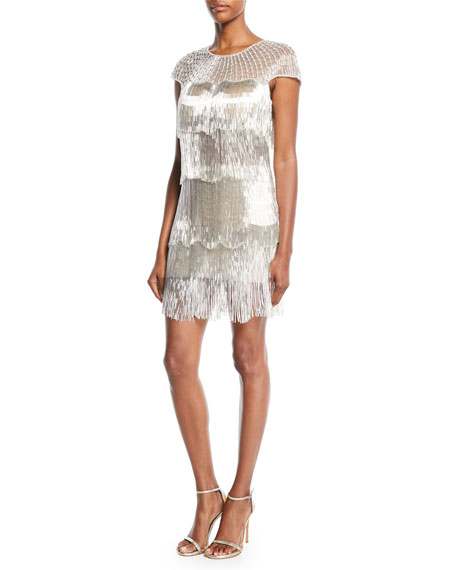 Jovani Short-Sleeve Metallic Fringe Dress