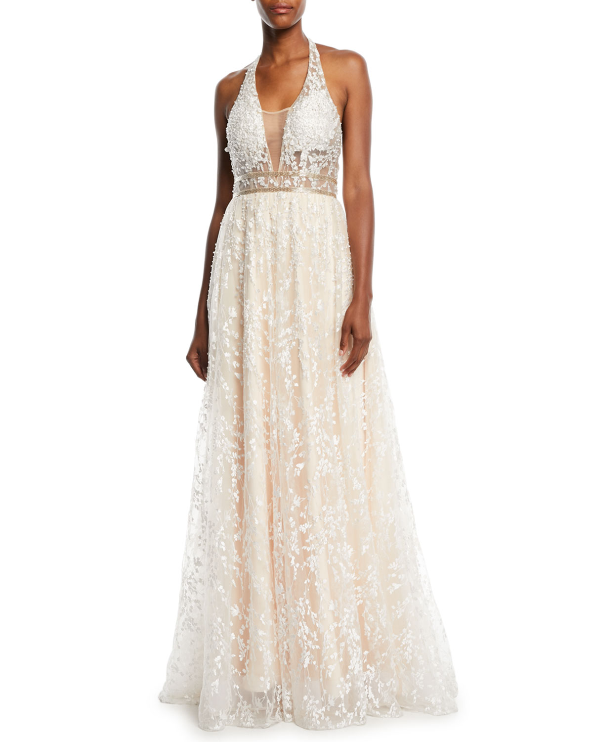 Jovani Halter-Strap Ball Gown in Lace   Neiman Marcus