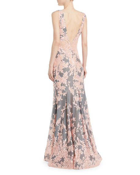 Plunging Floral Brocade Gown