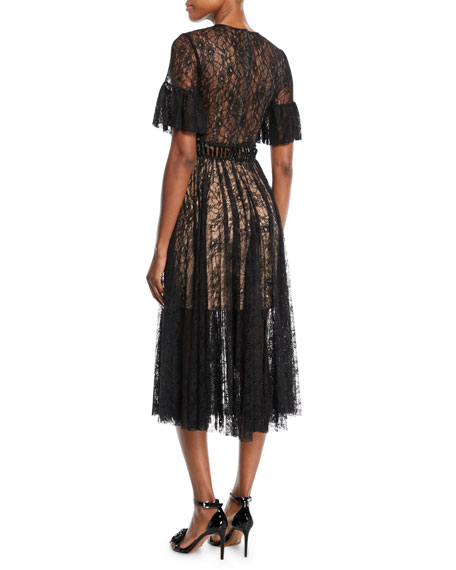 Lace A-Line Cocktail Dress w/ Short Sleeves