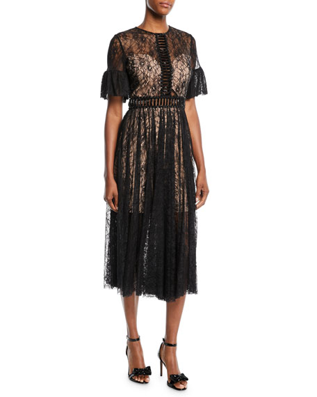 Jovani Lace A-Line Cocktail Dress w/ Short Sleeves