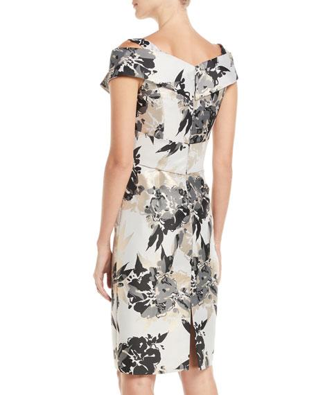Metal Floral Off-Shoulder Sheath Dress