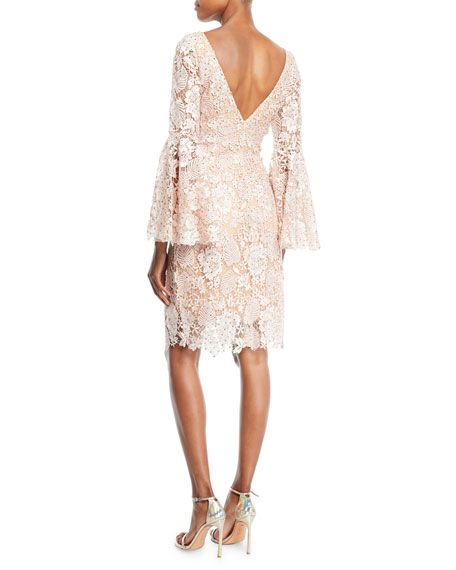 Scalloped Lace Cocktail Dress w/ Trumpet Sleeves