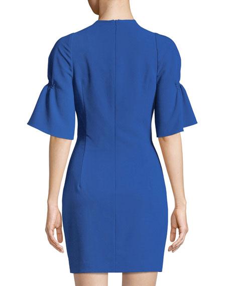 Elena Cinched-Sleeve Mini Dress