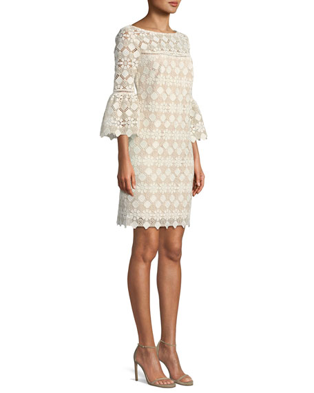 Quinn Bell-Sleeve Dress in Valencia Lace
