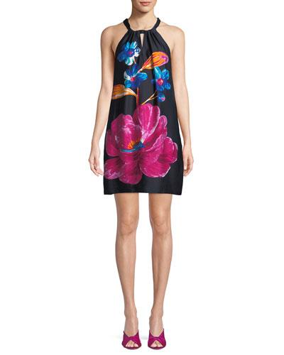 Roe Halter Dress in Floral Print