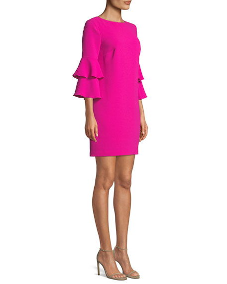 Leona Crepe Dress w/ Tiered Sleeves