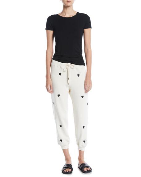 Heart-Print Cropped Cotton Sweatpants
