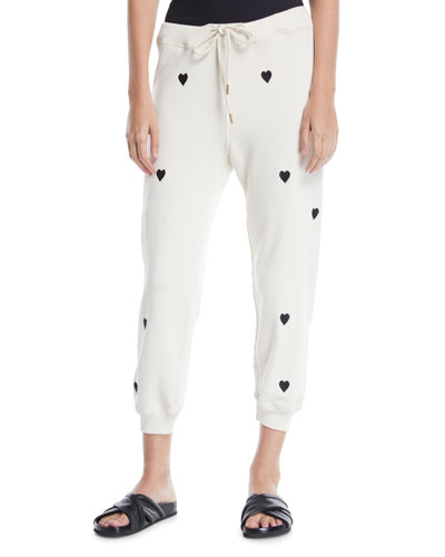 Heart-Print Cropped Cotton Sweatpants