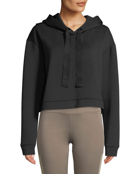 NYLORA Morrison Cropped Activewear Hoodie Sweatshirt Top in Black