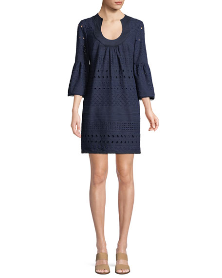 Bonita Cotton Mini Dress w/ Eyelets