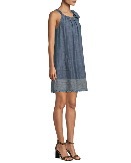 Moorpark Linen Chambray Halter Mini Dress