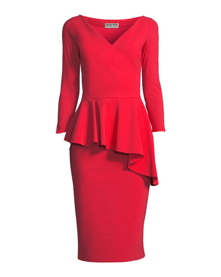 Gitana V-Neck Dress w/ Asymmetric Peplum
