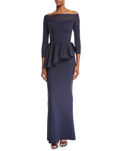 Nabelle Off-the-Shoulder Illusion Gown w/ Peplum Waist