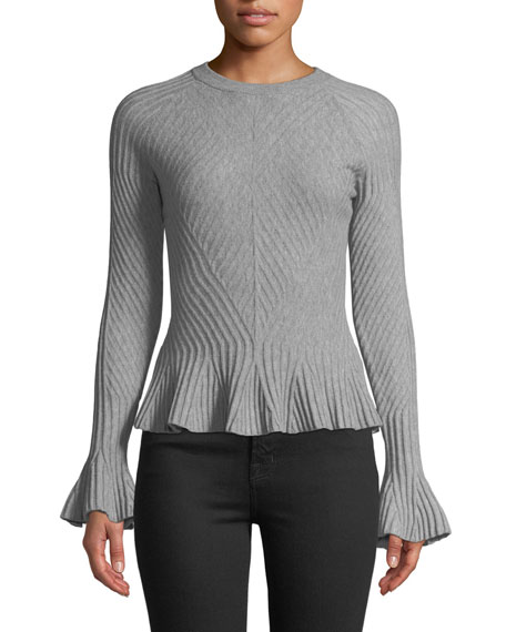 Ribbed Wool Bell-Sleeve Sweater