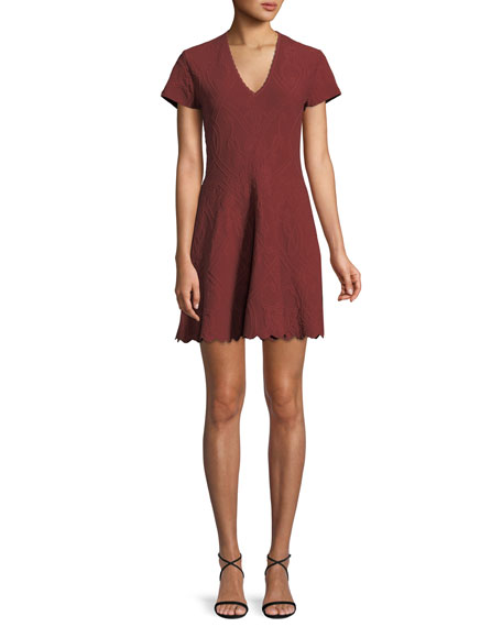 Jonathan Simkhai Matte Jacquard Short-Sleeve Mini Dress