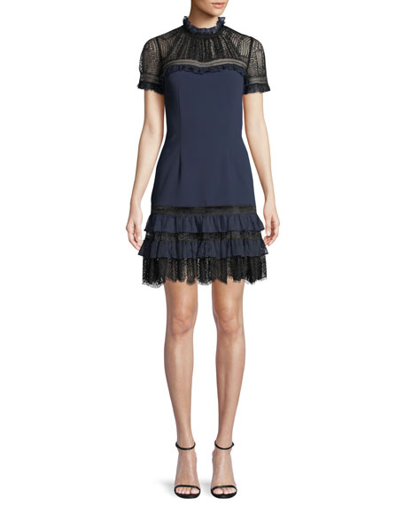 Lace Mock-Neck Plisse Tulle Mini Cocktail Dress, Blue