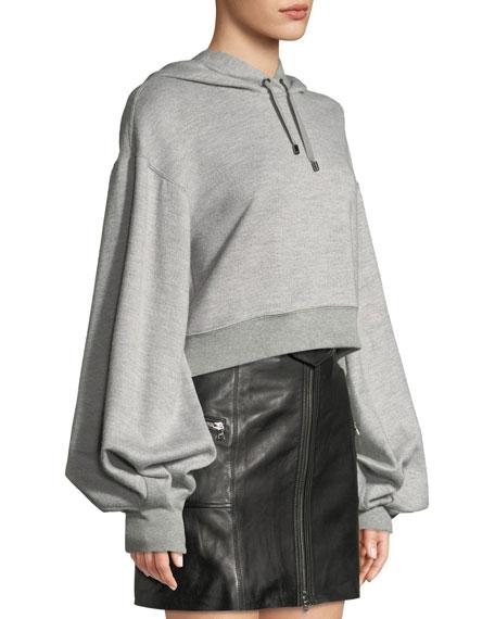Cropped Bishop-Sleeve Pullover Hoodie Sweatshirt