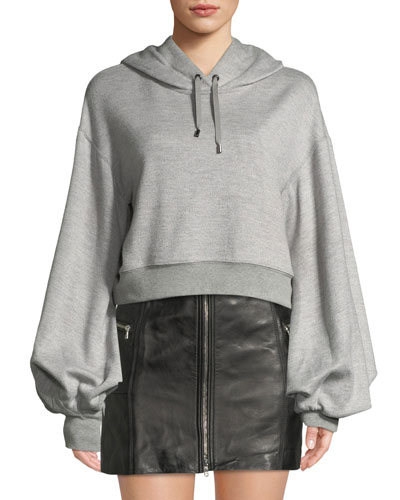 Cropped Bishop-Sleeve Pullover Hoodie Sweatshirt