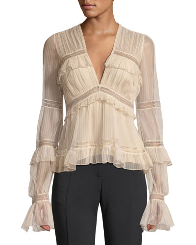 Plisse Tulle Plunging Long-Sleeve Ruffle Blouse