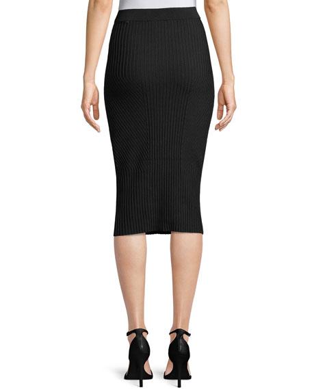 Ribbed Midi-Length Pencil Skirt