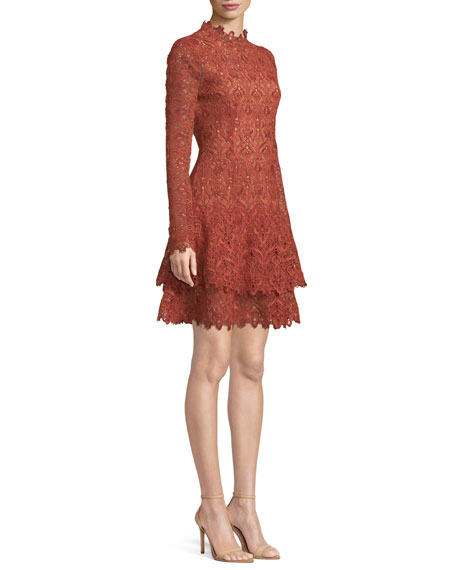 Long-Sleeve Guipure Lace Cocktail Dress